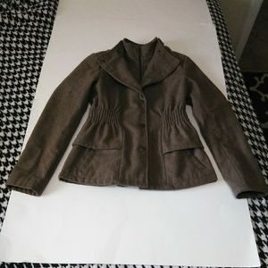 New York & Co Brown Layered Short Trench Coat
